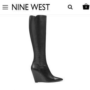 Nine West Wedge Heel Black Leather Boots